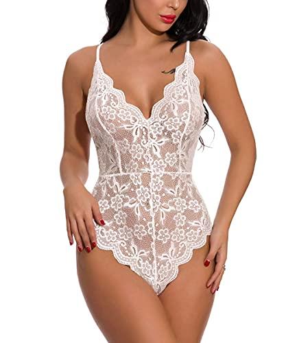 Buitifo Damen Lace Bodys V-Ausschnitt Babydoll Sexy Teddy Lingerie Frauen Unterwäsche (White S)