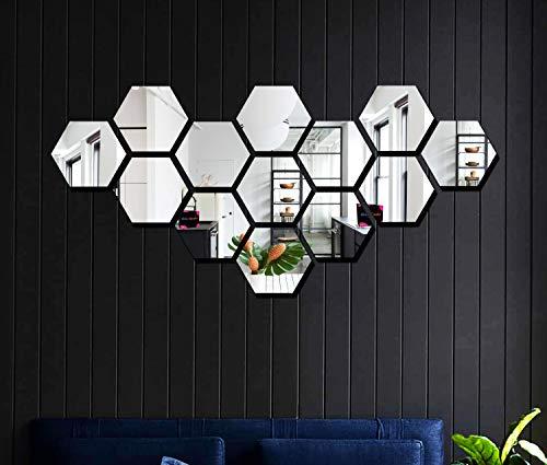 Bikri Kendra® - Hexagon Walldecor 13 Silver Mirror - 3D Acrylic Mirror Wall Stickers for Home & Office - Factory Outlet