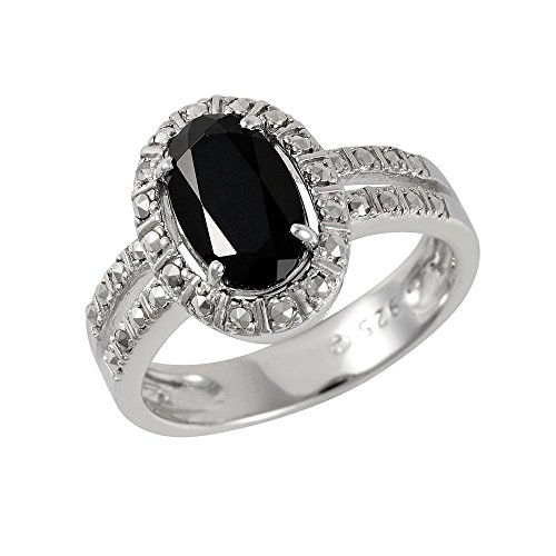 Esse Marcasite Sterling Silver Rhodium Plated Black Spinel and Marcasite Split Shoulder Ring Size - P