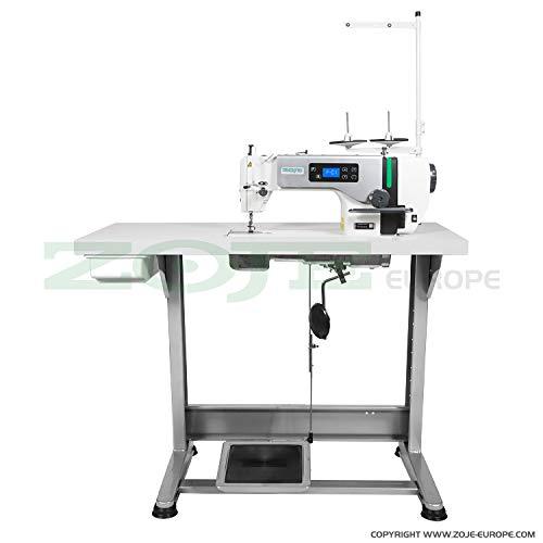 ZOJE Industrienähmaschine Nähmaschine - für dickere Stoffe - Industrie Industrielle Nähmaschine - KOMPLETT (aufgebaut, mit Tisch & Gestell)