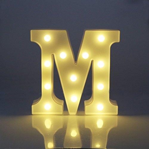 Luces Decorativas LED, AntEuro Diseño de Alfabeto de Madera en Color Blanco Letras Luces - Letra M