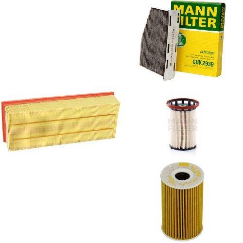 Mann-Filter Service Paket mit 1x Luftfilter C35154, 1x Innenraumfilter CUK2939, 1x Kraftstofffilter PU 8008/1, 1x Ölfilter HU7008Z