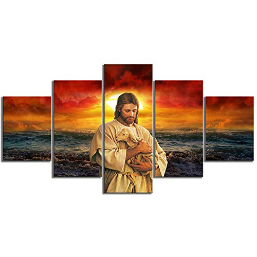 Decoracion del hogar Pintura en Lienzo Cristiano 5 Piezas Poster religioso de Jesús Pinturas Modernas Arte de Pared de construcción Cuadros Modular para Decoracion de Sala de Estar