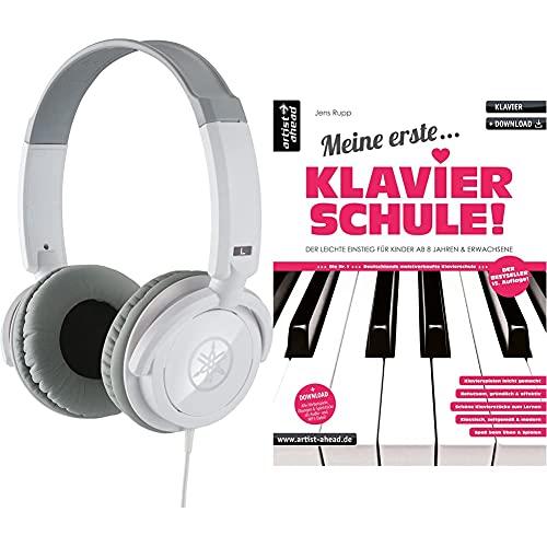 Yamaha HPH-100WH Kopfhörer, weiß – Geschlossener On-Ear-Kopfhörer für einzigartigen Sound & dynamischen Klang & Meine erste Klavierschule! Der leichte Einstieg für Kinder ab 8 Jahren