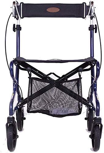 DLLGWC Hochwertiges zusammenklappbares tragbares altes Aluminium-Vierradfahrrad mit Einkaufskorb, Bremsen und Pedalen Sitzbreite: 52 cm, Sitzhöhe: 55 cm, Griffhöhe: 80-95 cm