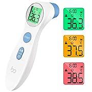 Fieberthermometer kontaktlos infrarot Stirnthermometer für Babys Erwachsene, multifunctional digitales 2 in 1 Thermometer mit sofort Ablesung, Fieberalarm, LCD Anzeige, Speicherabruf mit genauer Zeit