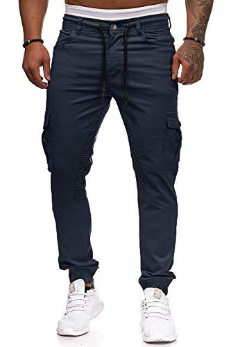 Cassiecy Herren Hose Jogger Chino Cargo Jeans Hosen Stretch Sporthose Herren Hose mit Taschen Slim Fit Freizeithose, M, Navy-1