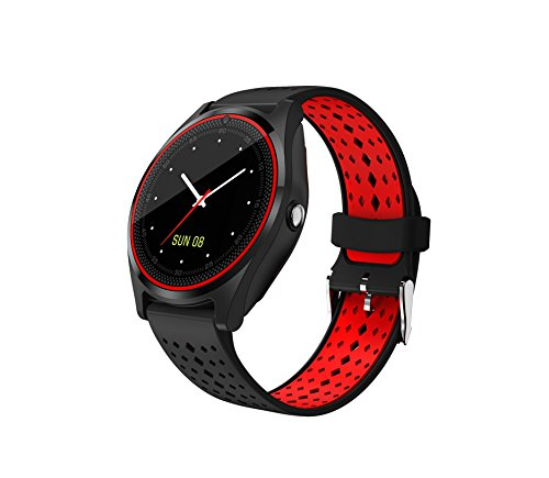 SYL PLUS V9 Pro Bluetooth Smartwatch Touch Screen with Camera, Sim Card Support, Round Dial Compatible with All Android/iOS Smartphones (Red and Black)