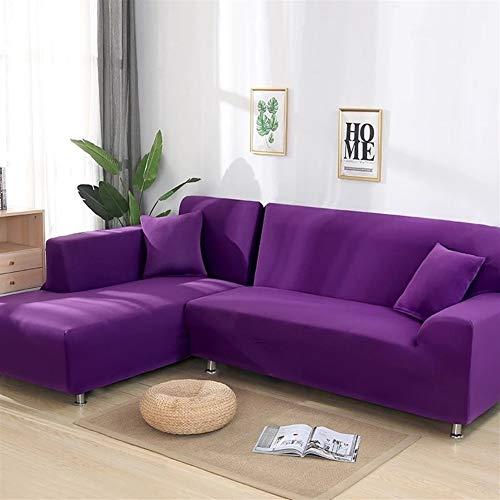 YWSZY Sofabezug 1 oder 2 PC-Abdeckungen for Ecksofa L-förmigen Sofa Wohnzimmer Sectional Chaiselongue Sofa Slipcover Ecksofa Stretch Husse (Color : Purple, Specification : 145 190cm 195 230cm)