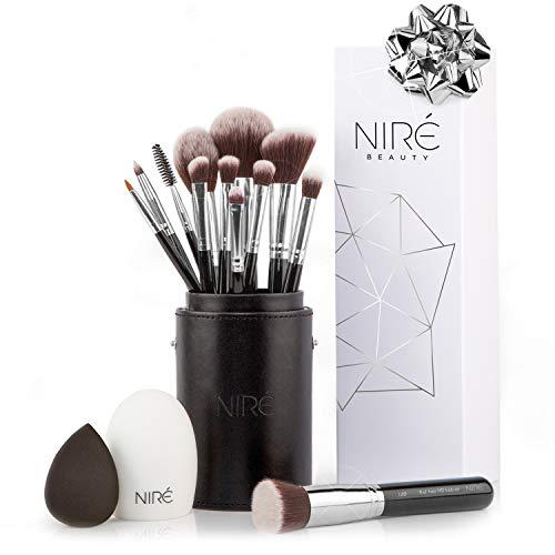 Niré Beauty Make-up-Pinselset, 15-teilig: preisgekrönte vegane Profi-Pinsel mit Etui, Niré Beauty Blender, Pinselreiniger, Guide & Geschenkschachtel
