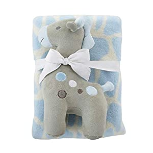 Stephan Baby Snuggle Fleece Crib Blanket and Plush Toy Set Available in 13 Designs, Blue and Gray Giraffe