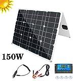 HMLIGHT Panel Solar Plegable 150w Kit monocristalino con regulador con la Salida del USB 2, para Caravana Barco y RV Camper, Portátil + Alta Efficienc, con el Controlador 20A