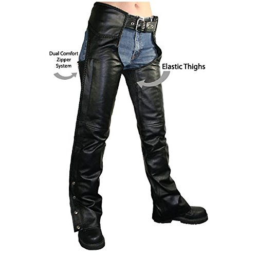 Xelement B7556 Womens Black Braided Zippered Leather Chaps - 10 a02bfb859