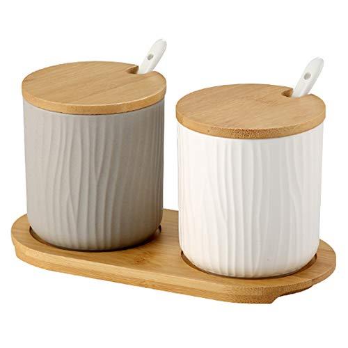 OnePine Set di 2 Zuccheriera, Zuccheriera in Ceramica Rotonda con Coperchio e Cucchiaio, Design Elegante, per Casa e Cucina