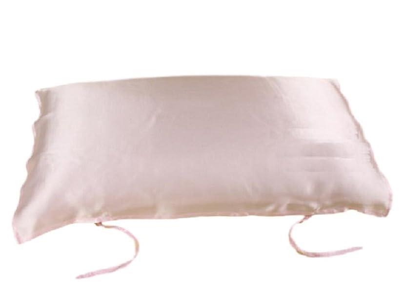 牛解説いたずらシルク 100% 枕 カバー 紐付き 片面タイプ 各色 美肌 髪 (ピンク)
