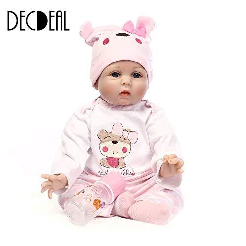 Decdeal Reborn Baby Puppe Silikon Babypuppe Mädchen mit Stoff Körper 55cm Augen Offnen, Magnetisch Mund