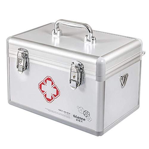 Caja de píldoras para medicamentos ambulatorios Caja de almacenamiento de aluminio para el hogar Medicina Cofre (color: plata, tamaño: L30,5 cm) (color: plata, tamaño: L40,5 cm) ZHNGHENG