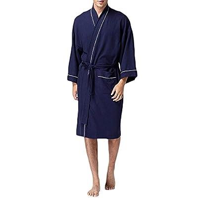 WEEN CHARM Kimono Robe Men Boy Cotton Lightweight Waffle Robe Loungewear Spa Bathrobe S-XL(White,Black,Blue,Grey)