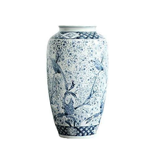 Florero Jarrón Decorativos De Suelo Vintage Chino Porcelana Azul Y Blanca Artista Residencia...