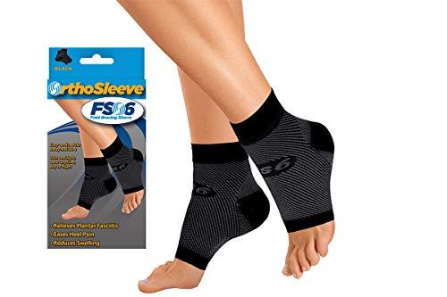 OrthoSleeve FS6 Compression Foot Sleeve (Pair), Black, Medium