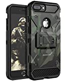 HUATRK iPhone 8 Plus Case,iPhone 7 Plus Case,iPhone 6 Plus Case,iPhone 6s Plus Case Man Boys Military Kickstand Three Layer Heavy Duty Shockproof Protective Camo Cover,Camouflage Green