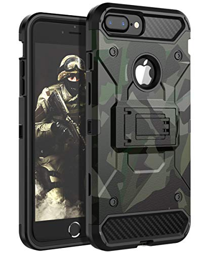 HUATRK iPhone 8 Plus Case,iPhone 7 Plus Case,iPhone 6 Plus Case,iPhone 6s Plus Case Kickstand Three Layer Heavy Duty Shockproof Protective Camo Cover,Camouflage Yellow