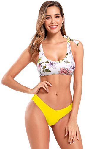 SHEKINI Damen Brazilian Weste Bikini Set Verstellbare Träger U Ausschnitt Sexy Rückenfrei Strand Bikinis Hoch Geschnitten V Schnitt Hose (XL, Zitronengelb)