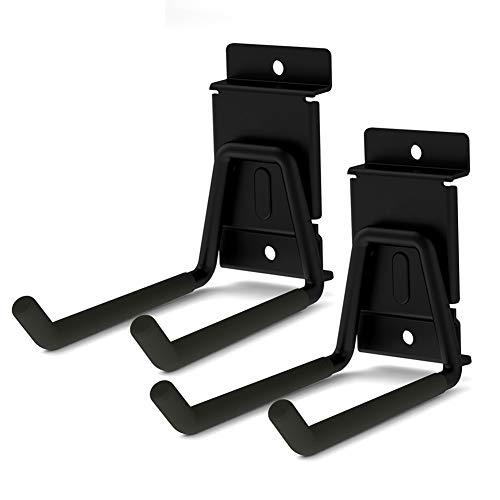 2 Stück Lamellenwand Haken, Slatwall Hooks Heavy Duty Garage Storage Werkzeughalter U-Form Aufhänger Organizer für Leitern Fahrrad Gartenschlauch und Klappstühle in 2 Größen (Schwarz) (13cm)