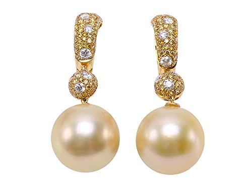 JYX - Orecchini pendenti in oro giallo 18 carati e diamanti di qualità AAA+, eleganti e genuini 16-16,5 mm, con perle coltivate del mare del sud, livello di raccolta per le donne