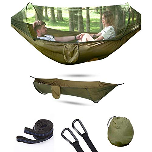 RainRider Camping Hammock with Mosquito Ultra Lightweight Portable Hammock, Single & Double Hammock with Bug Net, Windproof Hammock Tent Swing for Sleeping, Travel, Outdoor (Army Green 290x140cm)