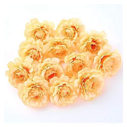 CQHUI Artificial Flowers 5CM Silk Rose Head For Wedding Party Home Garden Decorations DIY Craft Wreath Christmas Flower 10pcs/lot (Color : Orange)