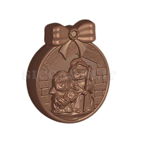 Siccardi Stampo per Cioccolato in policarbonato Palla di Natale con NATIVITA'