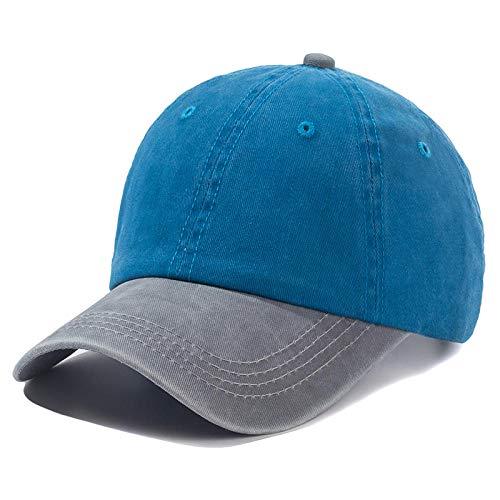 Diiya Gorras De Hombre Gorra Unisex Gorra De Béisbol De Algodón Lavado De Color Liso Hombres Y Mujeres Casual Ajustable Al Aire Libre Gorros Snapback Grey Blue