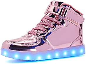 Voovix Kids LED Light up Shoes USB Charging Flashing High-top Sneakers for Boys Girls Child Unisex(Pink01,33)