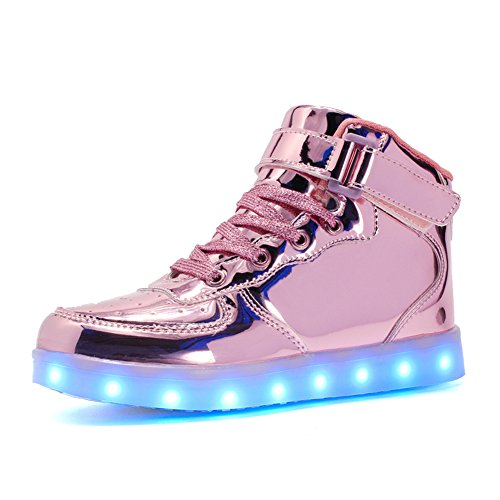 Voovix Kids LED Light up Shoes USB Charging Flashing High-top Sneakers for Boys Girls Child Unisex(Pink01,35)