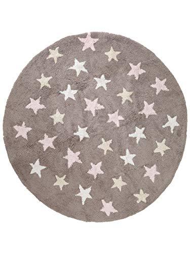 Benuta Kinderteppich Bambini Stars Rosa ø 150 cm rund | Teppich für Spiel- und Kinderzimmer