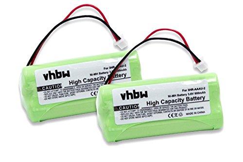 vhbw 2X batería reemplaza Bang & Olufsen 3HR-AAAU-2 para teléfono Fijo inalámbrico (700mAh, 3,6V, NiMH)