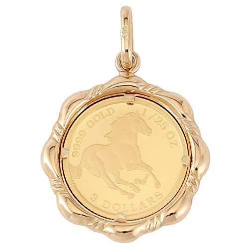 純金 24金 ツバル ホース コイン 1/25oz 金貨 ペンダントトップ デザイン枠