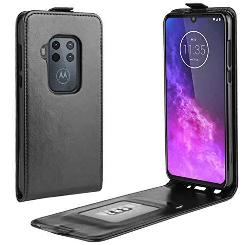 HualuBro Motorola One Zoom Hülle, Premium PU Leder Brieftasche Schutzhülle HandyHülle [Magnetic Closure] Handytasche Flip Hülle Cover für Motorola Moto One Zoom Tasche (Schwarz)