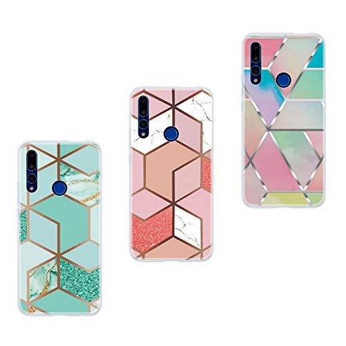 Everainy 3-pak compatibel met Huawei P Smart Z 2019 hoes silicone ultradun marmer patroon rubber bumper telefoonhoes hoezen bumper schokbestendig beschermhoes (driehoek/grijs/wit), groen/roze/kleur