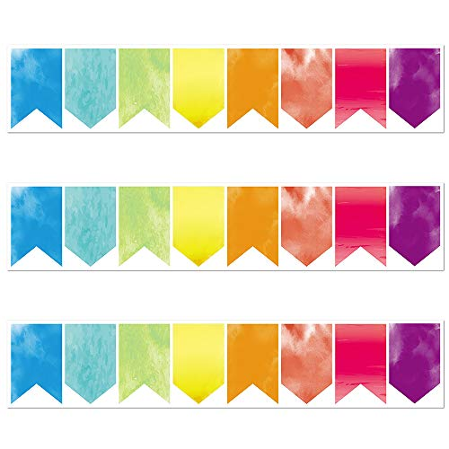 Watercolor Pennants Die-Cut Border Trim - Bulletin Borders Stickers, 50 ft Back-to-School Decoration Borders for Bulletin Board/Black Board Trim, Teacher/Student Use for Classroom/School Decoration