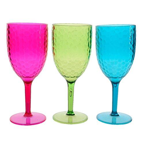 Kaemingk Calice da Vino in Plastica Ø 8x20cm.Colori Assortiti (Fucsia)
