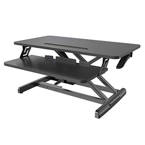 HFTEK Sitt/stå-skrivbord, arbetsplats, stå och sitt, laptop montering, arbetsstation.