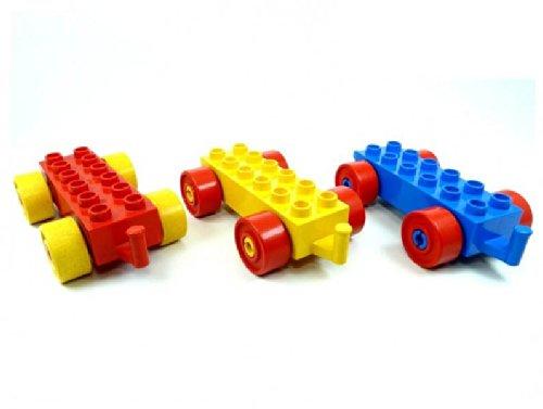 LEGO Duplo - 3 Auto Zug Eisenbahn Anhänger mit 2x6 Noppen (je 1x rot blau gelb)