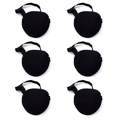 Gobesty 6 Piezas Máscara Ocular Pirata con Parche en el Ojo para la ambliopía Ojo vago para Adultos y Niños, Negro