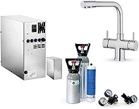 Système d'eau potable sous évier SPRUDELUX INOX sans unité de filtration avec raccord 5 voies NOBIUS chrome + bouteille de...