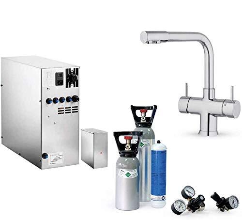 Système d'eau potable sous évier SPRUDELUX INOX sans unité de filtration avec raccord 5 voies NOBIUS chrome + bouteille de CO2 2kg. Machine à eau pétillante pour les particuliers