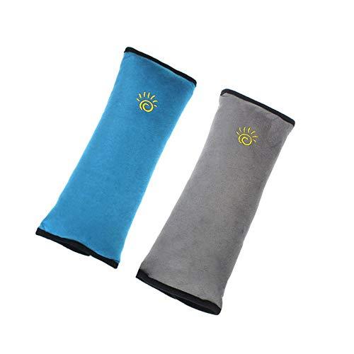 ZYEZI 2PCS Almohadillas para Cinturones de Seguridad, Niños/Bebé, Seguridad para el automóvil, Cinturón, Cubierta, Cinturón, Hombro, Almohada, Soporte para la Cabeza (Azul, Gris)