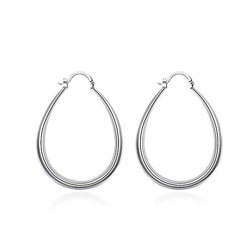 1 Paar Creolen Ohrringe Ohrhänger Ohrschmuck 925er Sterlin Silber Oval 3x4cm