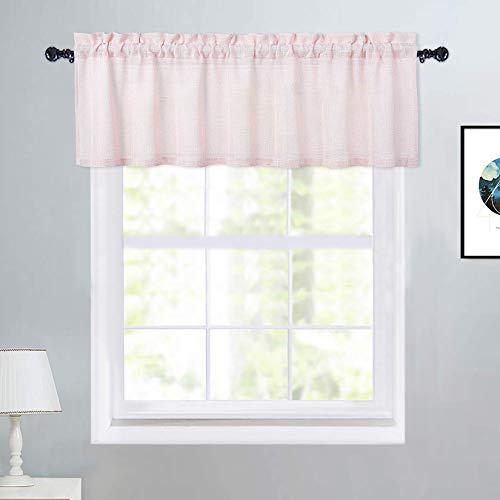 "Haperlare Linen Textured Look Kitchen Curtain Valance, Farmhouse Natural Design Valance Curtains for Windows Heavy Weight Rod Pocket Bathroom Window Curtains, 52"" W x 15"" L, Light Pink, One Panel"